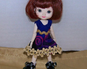 Handmade Amelia Thimble clothes - purple dress with beige and gold trim - Clearance