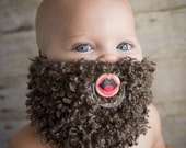 Brown Curly Custom Hand Painted & Hand Cut Beard Pacifier by PiquantDesigns