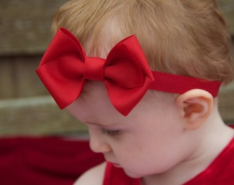 Baby Headband, ANY COLOR you choose, Small Kinley Headband, 100+ colors, Baby Bow, baby shower, Kinley Kate, baby girl, hair bow, Red Bow