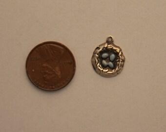 Vintage sterling silver enameled robin bird nest 4 eggs bracelet charm blue