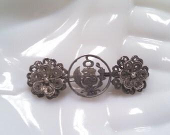 ON SALE 1916 Filigree Silver Pin