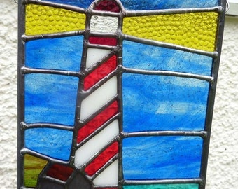 Stained Glass Lighthouse with Crofters Cottage Panel Made to Order