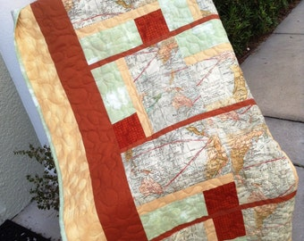 "Around the World - Lap Quilt - 53.5"" x 75"" - Contemporary/Modern Quilt  - Ready to Ship"