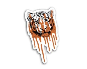 Melting Tiger Sticker - Animal Art - Big Cats Wildlife Scrapbooking Embellishment Endangered Species