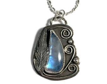 Moonstone pendant, fairy garden pendant, silver leaf pendant