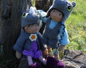 "SALE Waldorf knitted doll Zarko 14"""