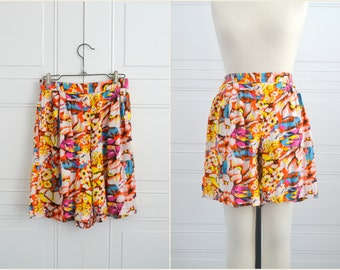 1980s Pleated Floral Rayon Shorts