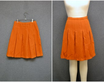 1960s Orange Wool Blend Pleated Skirt
