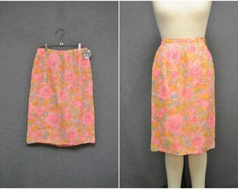 1960s Chiffon Floral Pencil Skirt