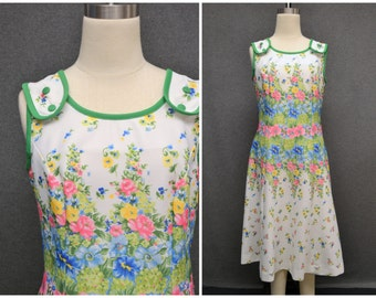 1960s Melvine of Miami Floral Poly Dress