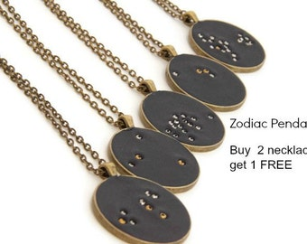 Buy 2 get 1 free, Constellation necklace, Zodiac necklace, astrology necklace, birthday gift idea, zodiac jewelry, gifts for friends