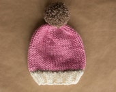 Super Chunky Knit Wool Blend Ladies Beanie Hat - White Tan Pink with Pompom - Ready to ship