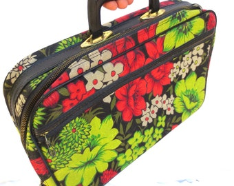 60s Floral Barkcloth Little Suitcase Overnight case Hippie suitcase Back to School Boho suitcase Black Background Jackpot Jen Vintage
