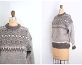 hand knit ladies English nordic fair isle sweater - 80s ladies prep / Gray Wool - vintage crewneck / Made in England