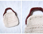woven macrame crochet bermuda bag - small ladies or childs purse / 1970s . 80s prep - tortoise handle / ivory preppy cover
