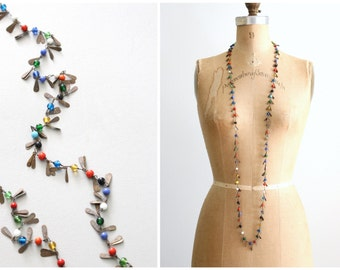 vintage 70s Indian brass beaded necklace - long beaded bohemian necklace / 1960s jewelry - festival / multi colored glass beads