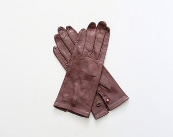 vintage brown kid leather driving gloves - butter soft lambskin gloves / 1950s kidskin driving gloves - 50s gloves / ladies gloves . 7