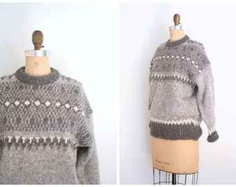 hand knit gray wool sweater - ladies English nordic fair isle sweater - Icelandic style sweater / vintage crewneck sweater / Made in England