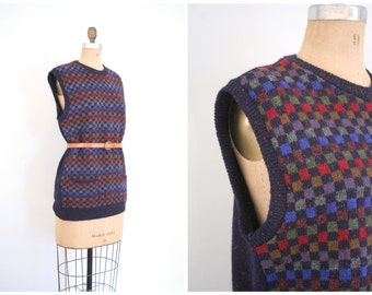 1970s - 80s Scottish tunic sweater vest - sleeveless - checkered pattern / Scotland hand loom - marled wool yarn / Ann Taylor - vintage prep