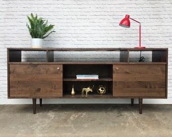 Credenza #104 - Solid Maple - Dark Walnut Finish - Danish Modern Inspired
