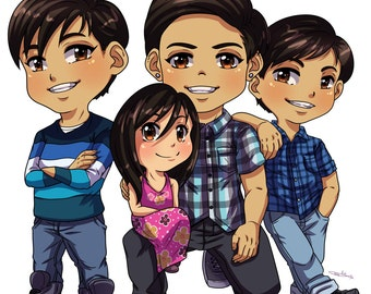 CUSTOM Chibi Family Portrait customized anime art portrait manga caricature digital