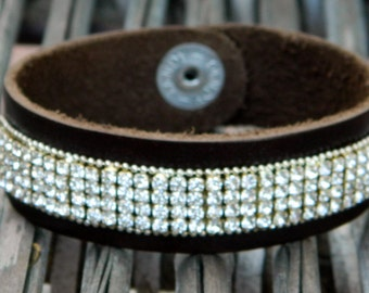 Dark espresso brown leather bracelet with rhinestones