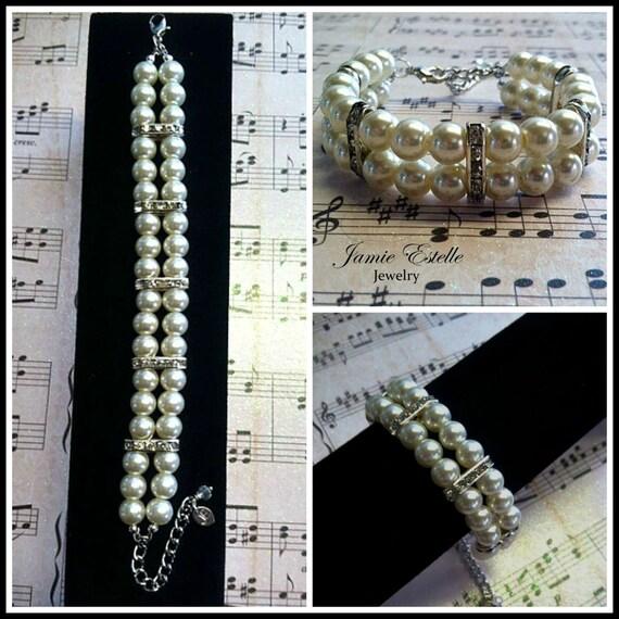 Bridal/Prom Swarovski Pearls And Rhinestone Bracelet