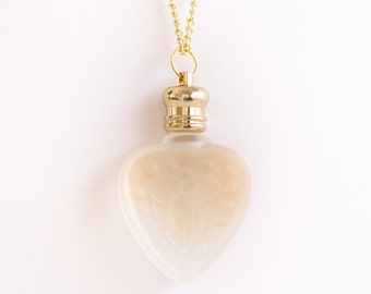 Heart Perfume Bottle Necklace - Gold Frosted Glass -  - Choose Your Scent