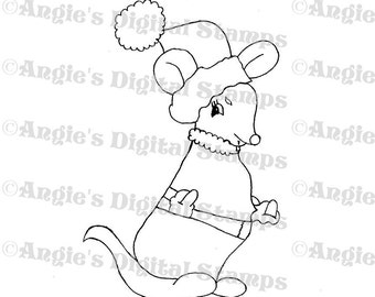 Christmas Mouse Digital Stamp Image