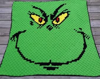Crochet c2c Grinchy graph blanket throw afghan PATTERN