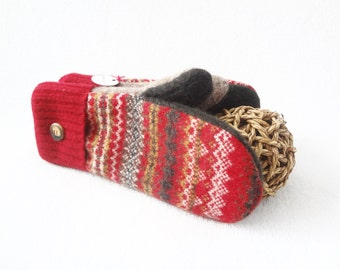 Wool Mittens RED & BROWN Fair Isle Felted Sweater Wool Fleece Lined Red Mittens Eco Gift Under 50 for Women Wool Gloves WormeWoole
