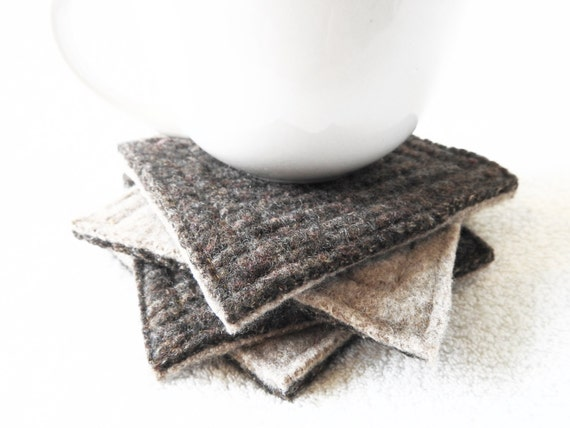 Wool Coasters Coffee & Irish Cream Brown and Beige Felted Wool Recycled Mug Rugs Brown Coasters Ecofriendly Home Decor Gift by WormeWoole