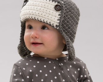 MADE TO ORDER baby Aviator hat, gray/white colors, available in sizes from 0-3 months to 24 months