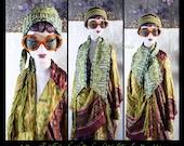 Turban,Headband,Fichu,Head Kerchief,Head Cover,Silk Scarf,Collar,Up Cycled Silks,OOAK