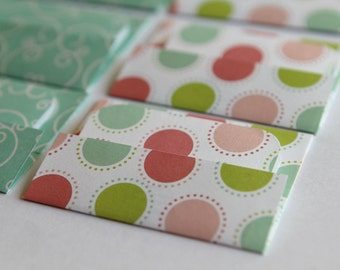 NEW - Mini Cards n Envelopes - Set of 8 - Lime, Aqua, Pink Dots with Aqua Teal Blue Swirl Designs