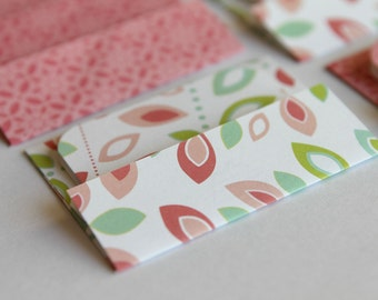 NEW - Mini Cards n Envelopes - Set of 8 - Pink, Lim Green, Fuschia, Teal Aqua Leaves with Red Pink Designs