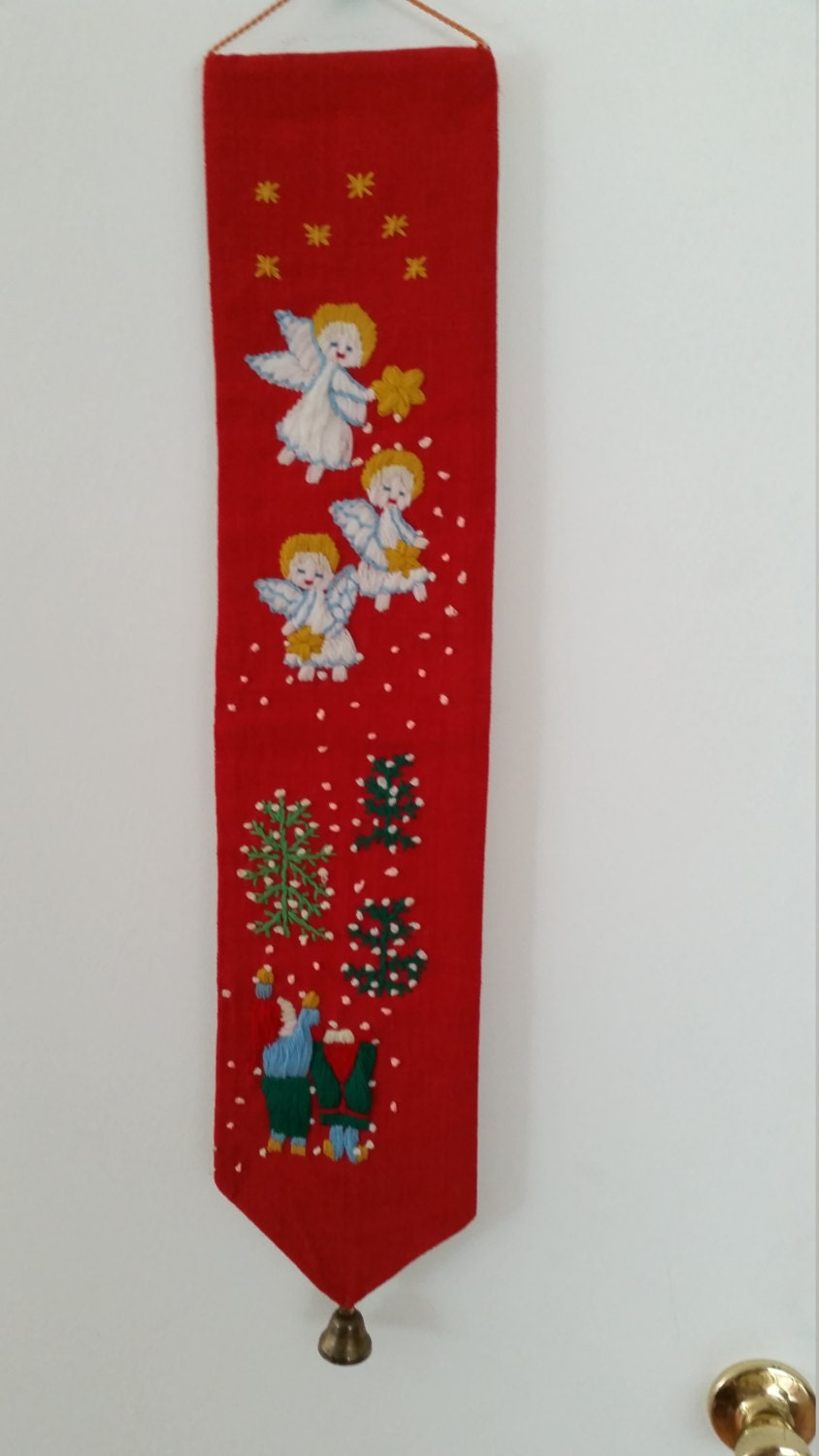 Vintage Christmas Wall Decor : Vintage hand stitched red christmas bell pull wall decor with