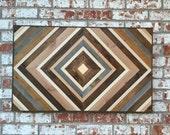 Chevron Wood Wall Art - Wood Art Sculpture - Reclaimed Wood