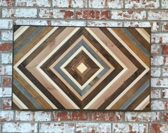 Chevron Wood Wall Art - Wood Art Sculpture - Reclaimed Wood