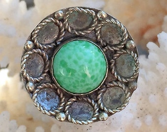 European 835 Silver Ring with Green Cabochon Size 7+
