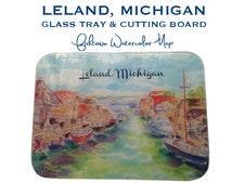 Leland, Michigan - Fishtown Watercolor Glass Tray & Cutting Board
