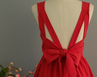 Red dress red party dress red prom dress red cocktail dress bow back dress red bridesmaid dresses red backless dress red dresses