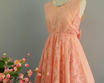 Party V Backless Dress Peachy Pink Lace Dress Peach Lace Prom Party Dress Lace Backless Dress Peach Pink Wedding Bridesmaid Dress XS-XL