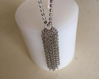 Silver Rhinestone And Silver Chain Tassel Bracelet