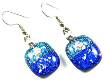 "Dichroic Pet Ashes Cremation Dangle Earrings - Teal Blue Cobalt Beaded French Wire Surgical, 3/4""/ 20mm, Custom Color Remembrance Jewelry"