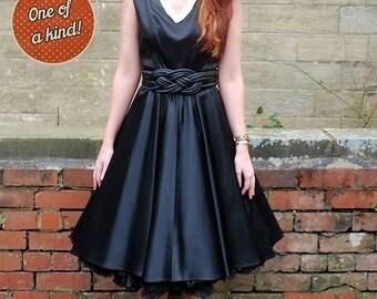 Original Vintage 1950s Black Swing Prom Dress UK Size 10 Pin Up Rockabilly
