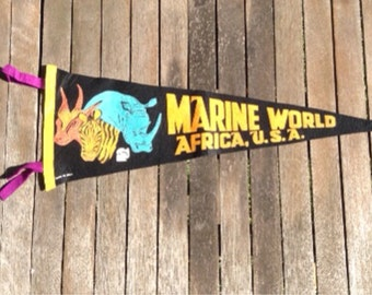 CYBER MONDAY SALE - Vintage Marine World Felt Pennant