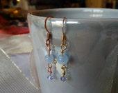 Lilac Cat's Eye and Swarovski Crystal Earrings