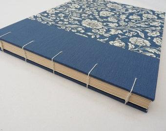 Photo album - made to order, Florentine, Coptic, photo album, watercolour paper, blue, flowers