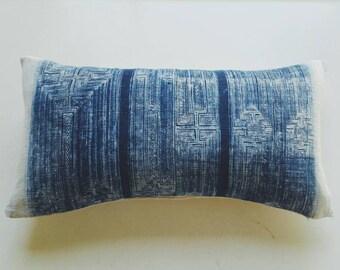 Batik Indigo Hmong Pillow Cover - Vintage Boho Tribal Throw - Bohemian Batik Pillows